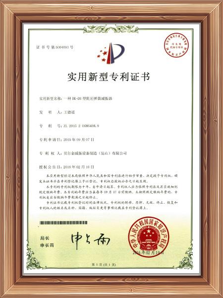 一种BK-DS阻尼弹簧减振器专利证书